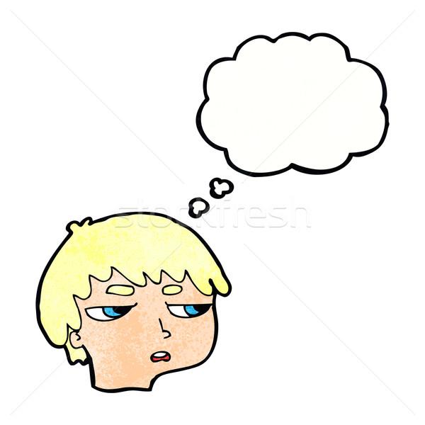 Cartoon zły chłopca bubble myśl strony twarz Zdjęcia stock © lineartestpilot