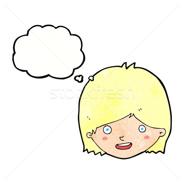 Cartoon felice femminile faccia bolla di pensiero ragazza Foto d'archivio © lineartestpilot