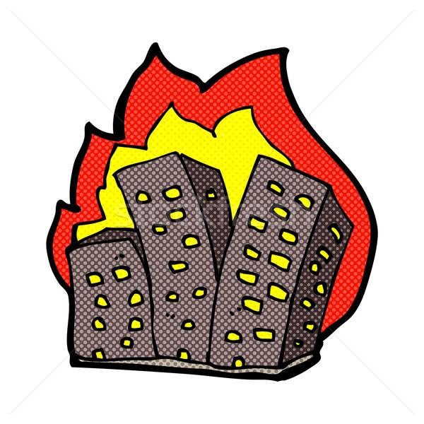 comic cartoon burning buildings Stock photo © lineartestpilot