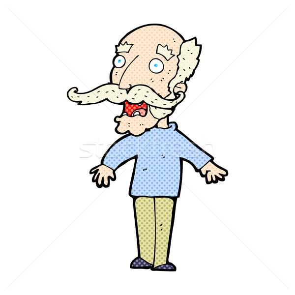 comic cartoon old man gasping in surprise Stock photo © lineartestpilot