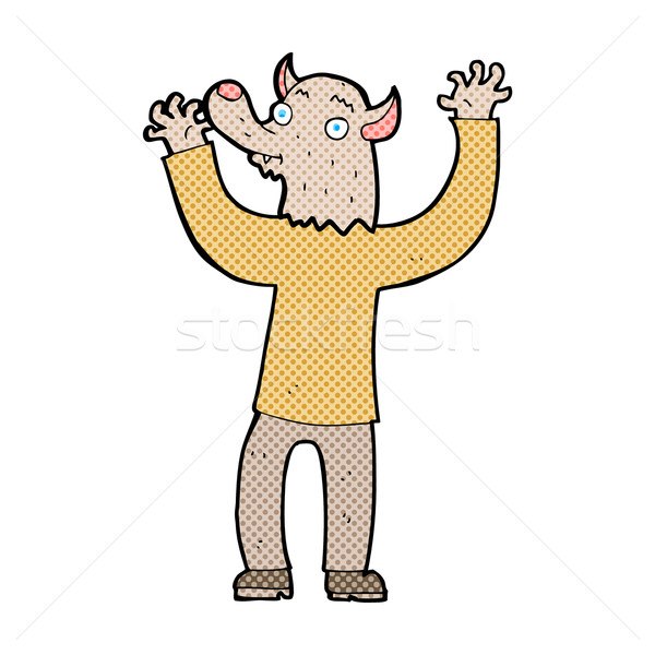 Komik karikatür mutlu kurt adam adam Retro Stok fotoğraf © lineartestpilot