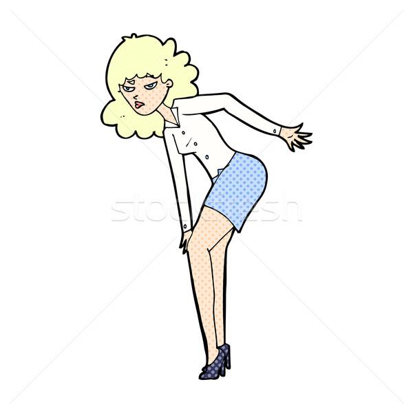 comic cartoon annoyed woman rubbing knee Stock photo © lineartestpilot