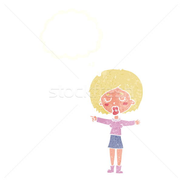 cartoon pointing woman with thought bubble Stock photo © lineartestpilot