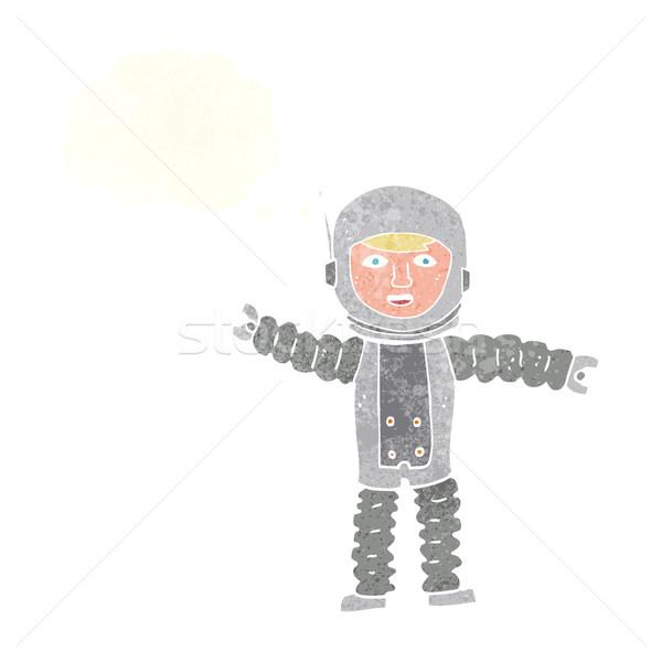 Cartoon астронавт мысли пузырь стороны дизайна искусства Сток-фото © lineartestpilot