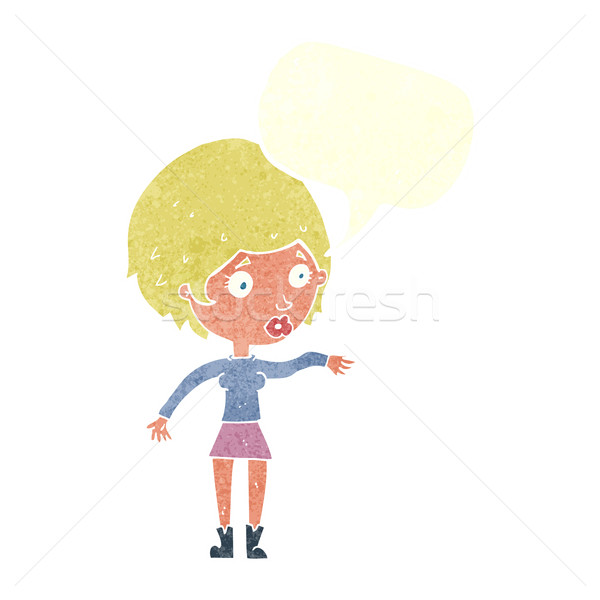 cartoon concerned woman reaching out with speech bubble Stock photo © lineartestpilot