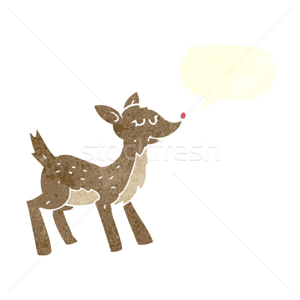 cute cartoon deer with speech bubble Stock photo © lineartestpilot