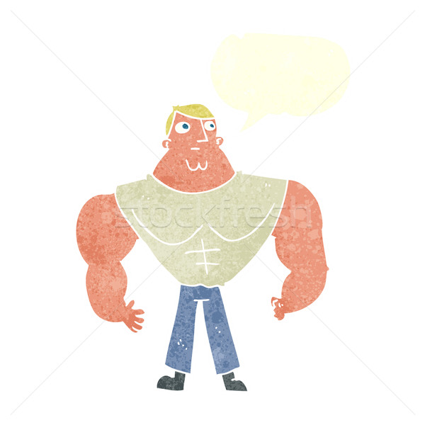 cartoon body builder with speech bubble Stock photo © lineartestpilot
