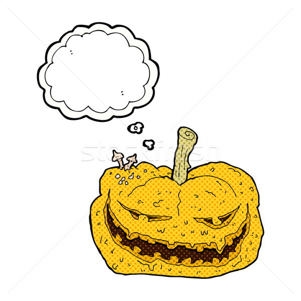 cartoon halloween pumpkin with thought bubble Stock photo © lineartestpilot