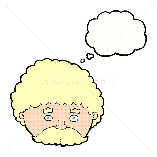 cartoon man with mustache with thought bubble Stock photo © lineartestpilot