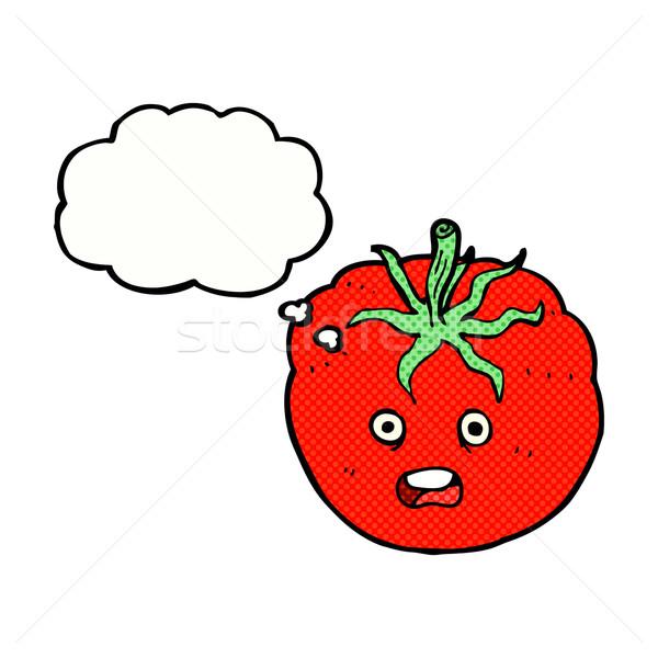 Foto stock: Cartoon · tomate · burbuja · de · pensamiento · alimentos · mano · diseno