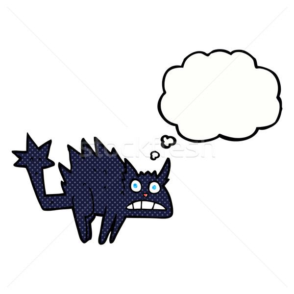 cartoon frightened black cat with thought bubble Stock photo © lineartestpilot