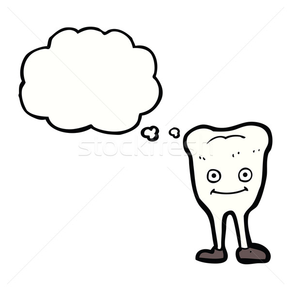 Stock photo: cartoon happy tooth with thought bubble