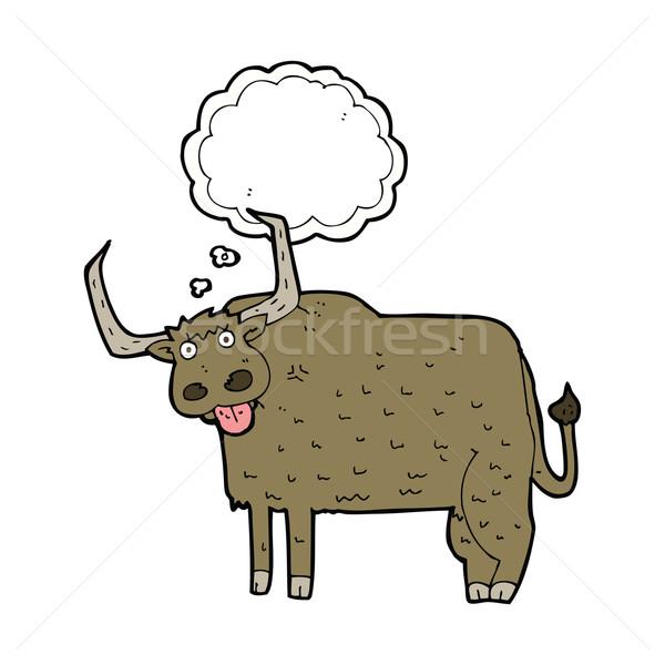Cartoon волосатый корова мысли пузырь стороны дизайна Сток-фото © lineartestpilot