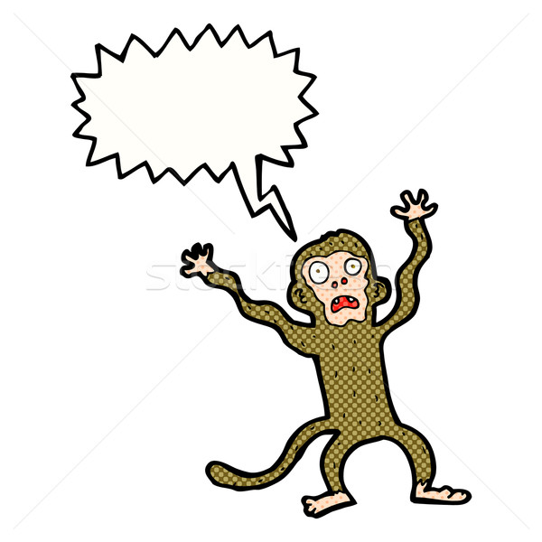 cartoon frightened monkey with speech bubble Stock photo © lineartestpilot