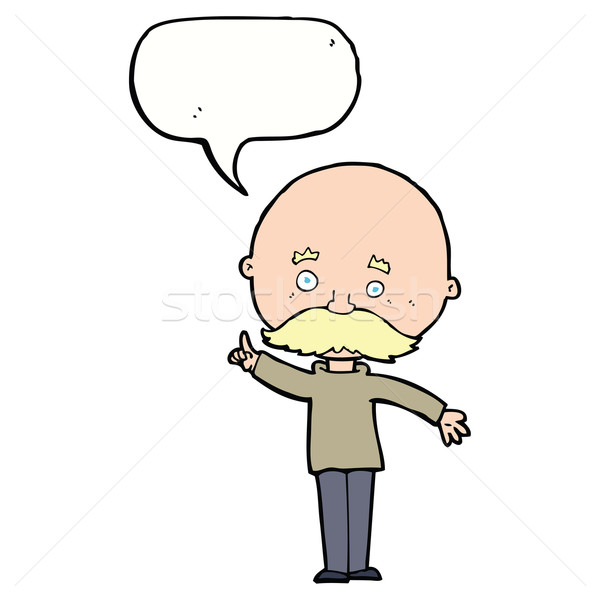 Cartoon kaal man idee tekstballon hand Stockfoto © lineartestpilot