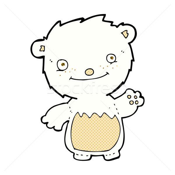 Képregény rajz integet jegesmedve medvebocs retro Stock fotó © lineartestpilot