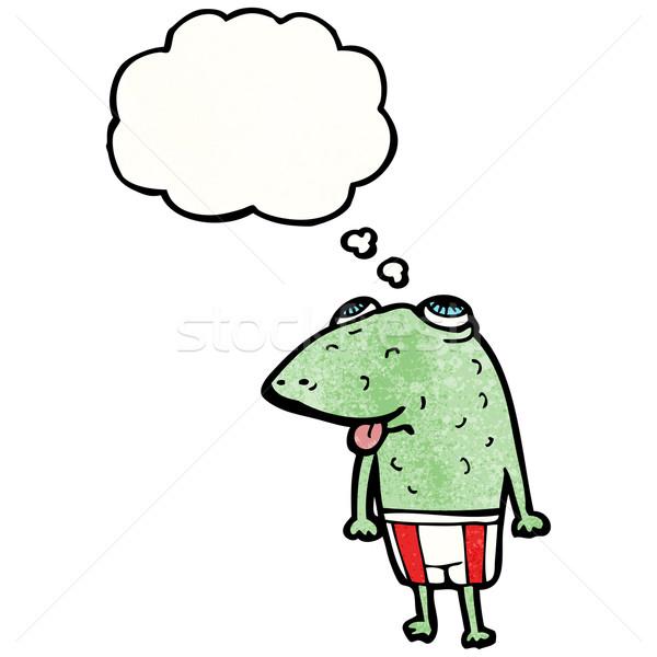 Cartoon rospo bolla di pensiero parlando retro pensare Foto d'archivio © lineartestpilot
