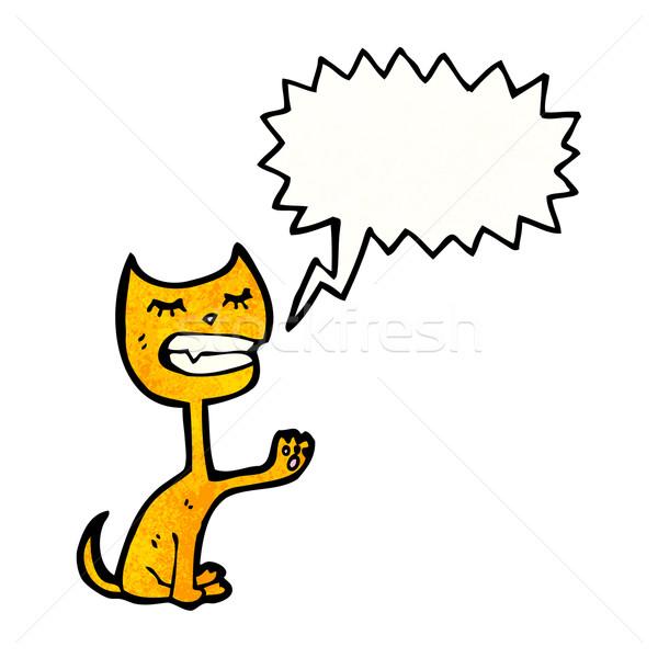 漫画 猫 吹き出し 話し レトロな 図面 ストックフォト © lineartestpilot
