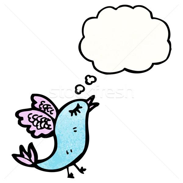 Cartoon rzadki ptaków bubble myśl mówić retro Zdjęcia stock © lineartestpilot