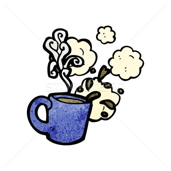 горячей кофе говорить ретро рисунок Cartoon Сток-фото © lineartestpilot