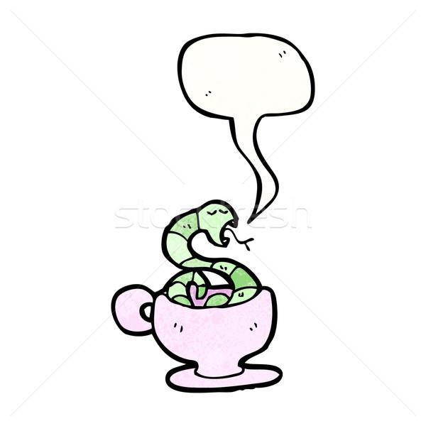 Cartoon serpente tazza da tè caffè parlando retro Foto d'archivio © lineartestpilot