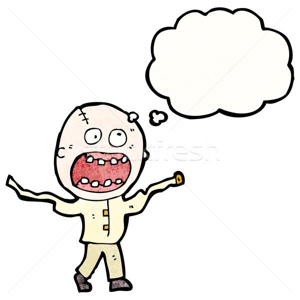 Karikatür çılgın deli adam Retro balon Stok fotoğraf © lineartestpilot