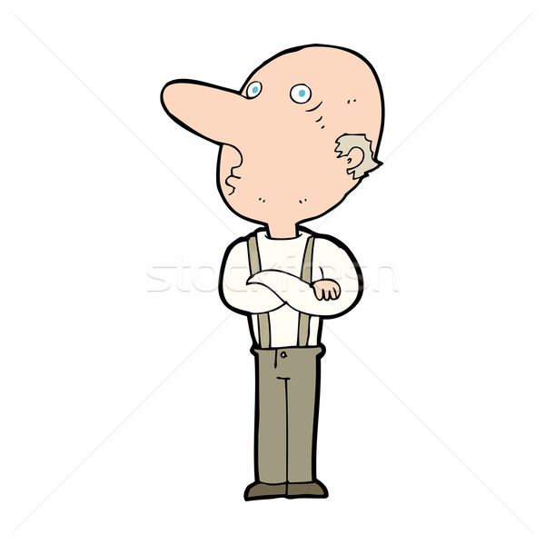 cartoon old man with folded arms Stock photo © lineartestpilot
