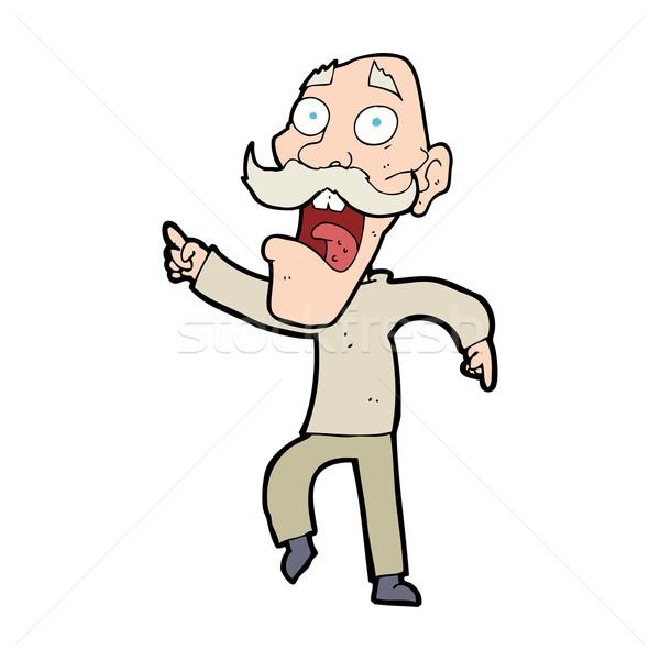 Cartoon przestraszony stary człowiek projektu sztuki Zdjęcia stock © lineartestpilot
