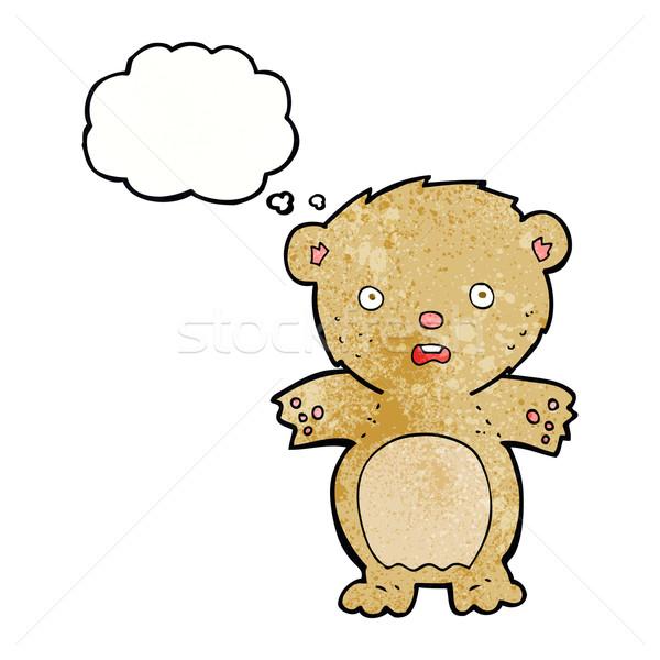 Сток-фото: испуганный · мишка · Cartoon · мысли · пузырь · стороны · дизайна