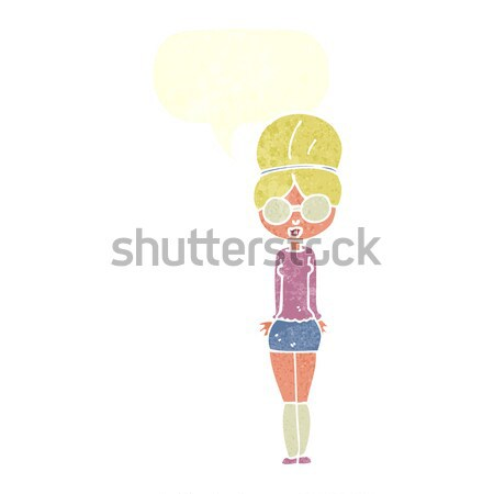 cartoon pretty girl with hands on hips with thought bubble Stock photo © lineartestpilot