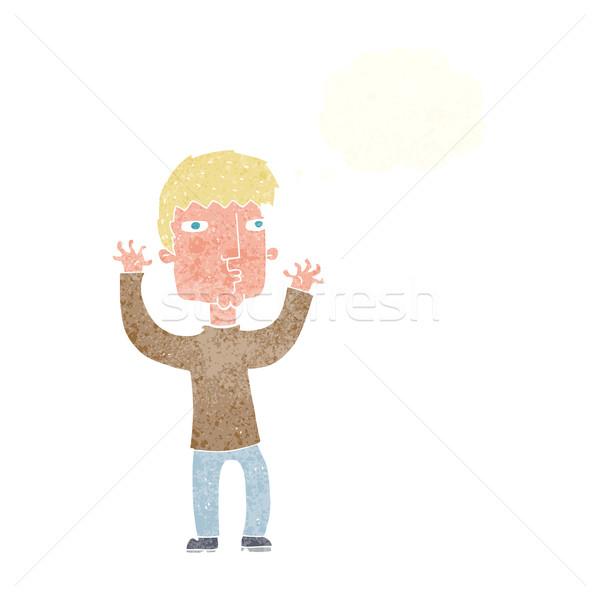 Cartoon niespokojny człowiek bubble myśl strony projektu Zdjęcia stock © lineartestpilot