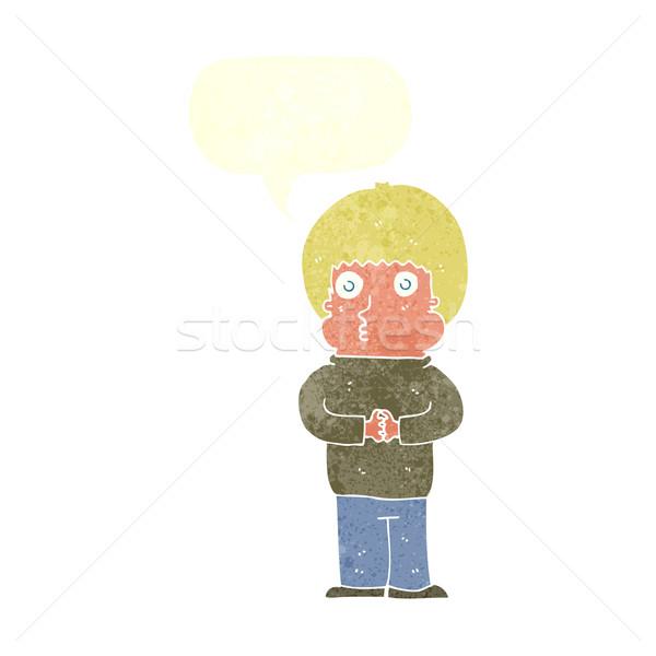 Rajz félénk fiú szövegbuborék kéz férfi Stock fotó © lineartestpilot