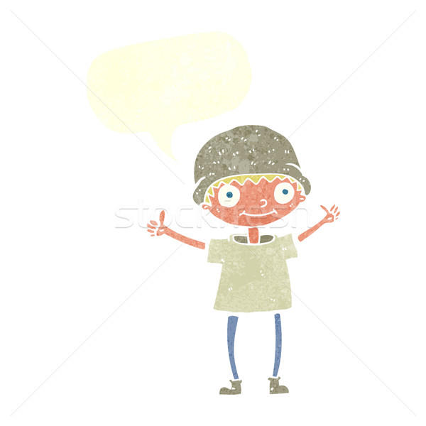cartoon boy with positive attitude with speech bubble Stock photo © lineartestpilot