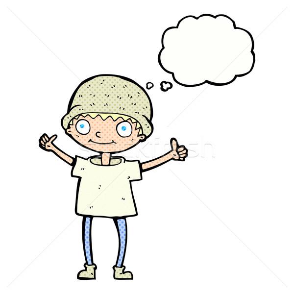Cartoon jongen positieve houding gedachte bel hand man Stockfoto © lineartestpilot