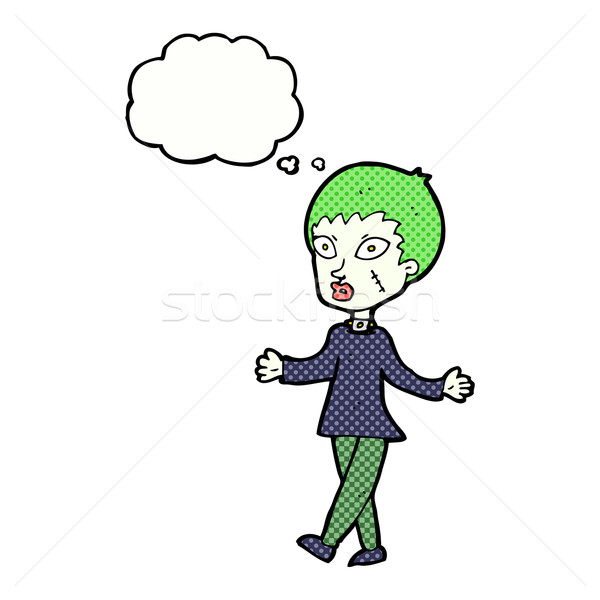 Cartoon Хэллоуин зомби женщину мысли пузырь стороны Сток-фото © lineartestpilot