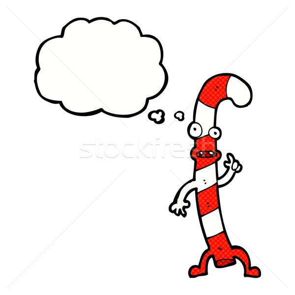 Karikatur Tanz Weihnachten candy Zuckerrohr Gedankenblase Stock foto © lineartestpilot