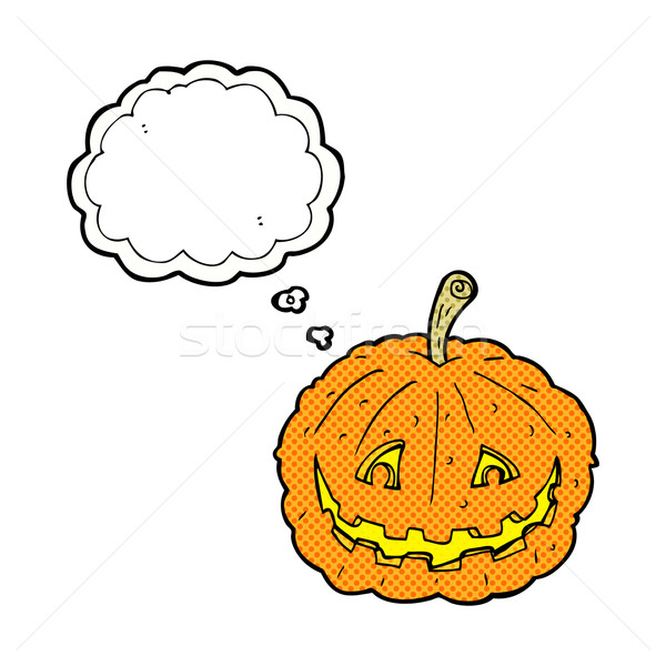cartoon grinning pumpkin with thought bubble Stock photo © lineartestpilot