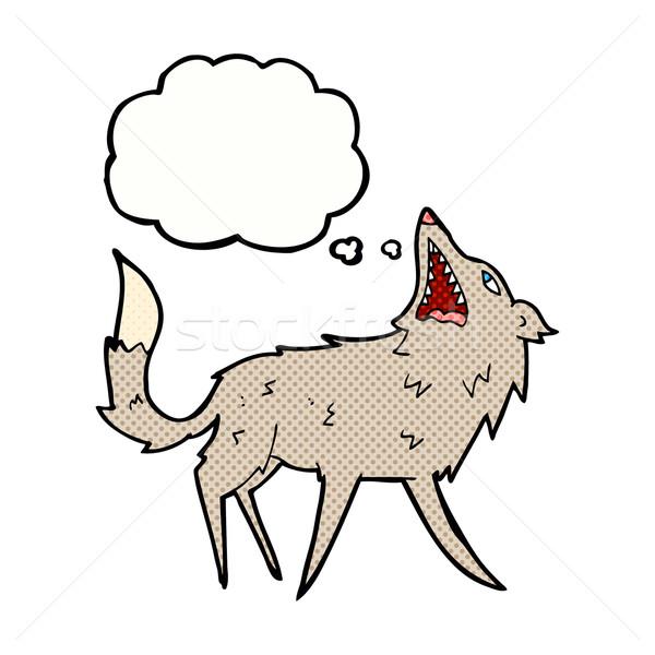 Cartoon волка мысли пузырь стороны дизайна животные Сток-фото © lineartestpilot