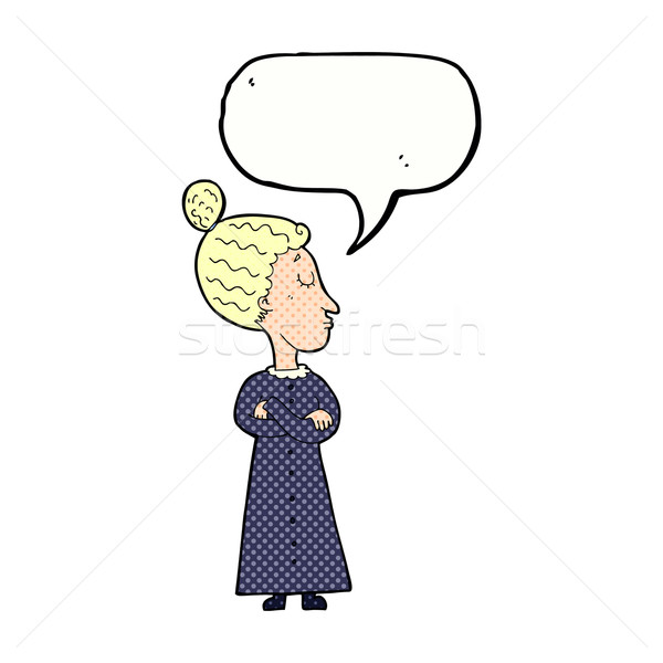 cartoon strict victorian teacher with speech bubble Stock photo © lineartestpilot