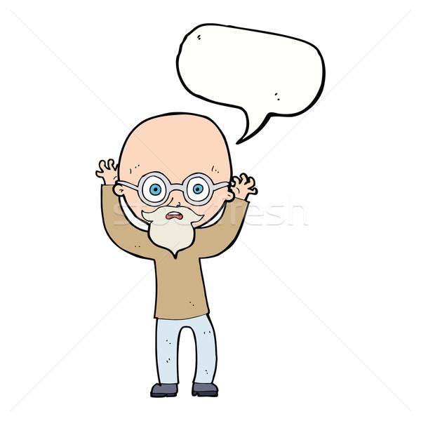 Rajz hangsúlyos kopasz férfi szövegbuborék kéz Stock fotó © lineartestpilot