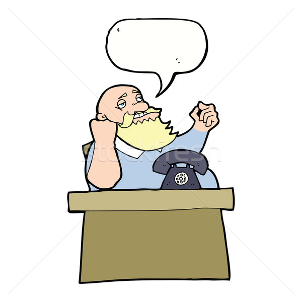 cartoon arrogant boss man with speech bubble Stock photo © lineartestpilot