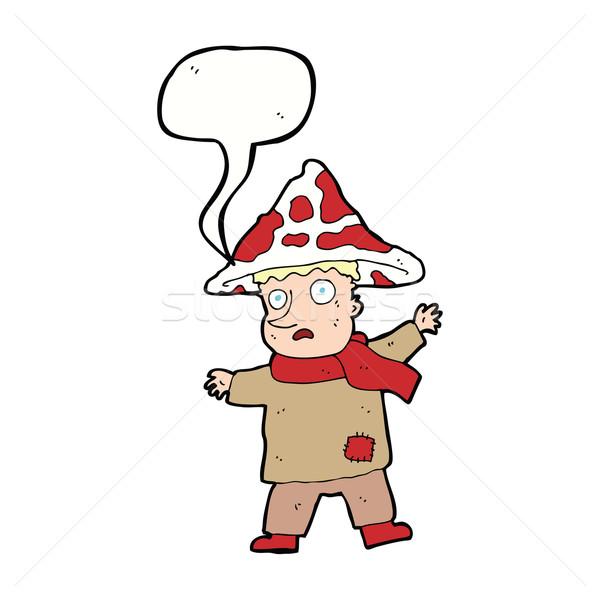 Cartoon magiczny grzyby człowiek dymka strony Zdjęcia stock © lineartestpilot