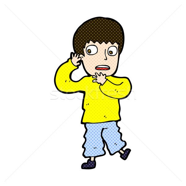 Komiks cartoon przestraszony chłopca retro komiks Zdjęcia stock © lineartestpilot