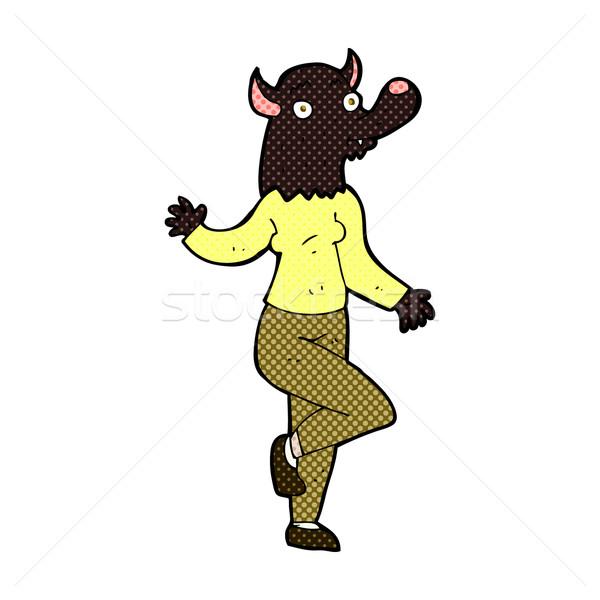 Komik karikatür dans kurt adam kadın Retro Stok fotoğraf © lineartestpilot