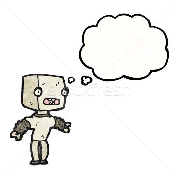 Stockfoto: Cartoon · weinig · robot · textuur · hand · gelukkig
