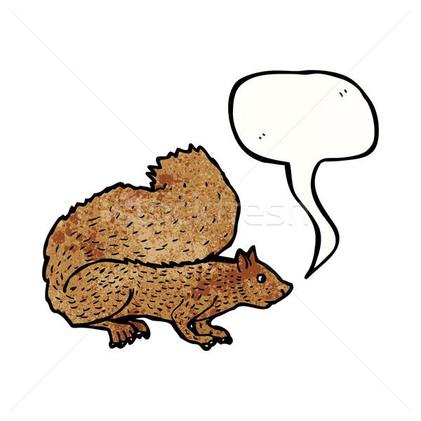 Stock fotó: Rajz · mókus · beszél · retro · rajz · aranyos