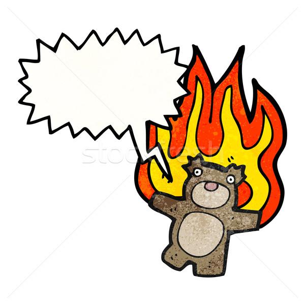 burning teddy bear cartoon Stock photo © lineartestpilot