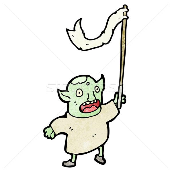 cartoon goblin waving flag Stock photo © lineartestpilot
