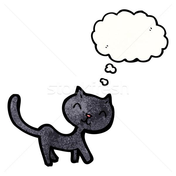 黒猫 黒 レトロな 図面 漫画 ストックフォト © lineartestpilot