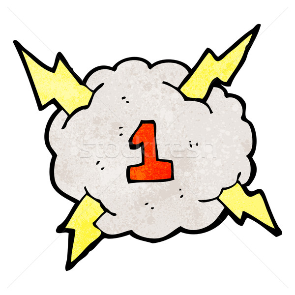 cartoon thunder cloud with number one Stock photo © lineartestpilot